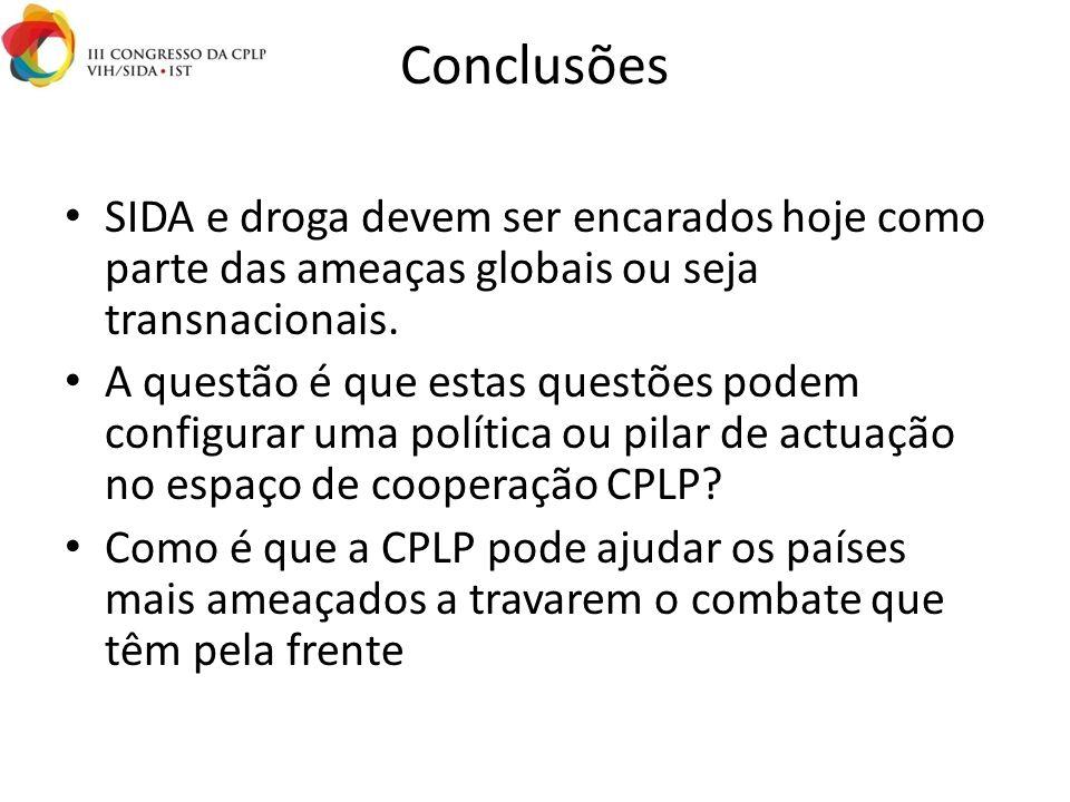 Conclusões SIDA e droga devem ser encarados hoje como parte das ameaças globais ou seja transnacionais.