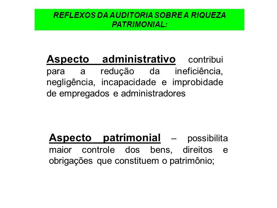 REFLEXOS DA AUDITORIA SOBRE A RIQUEZA PATRIMONIAL: Aspecto administrativo contribui para a redução da ineficiência, negligência, incapacidade e improb