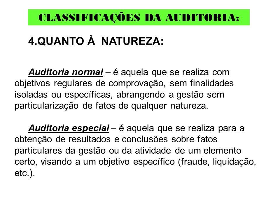 4.QUANTO À NATUREZA: Auditoria normal – é aquela que se realiza com objetivos regulares de comprovação, sem finalidades isoladas ou específicas, abran