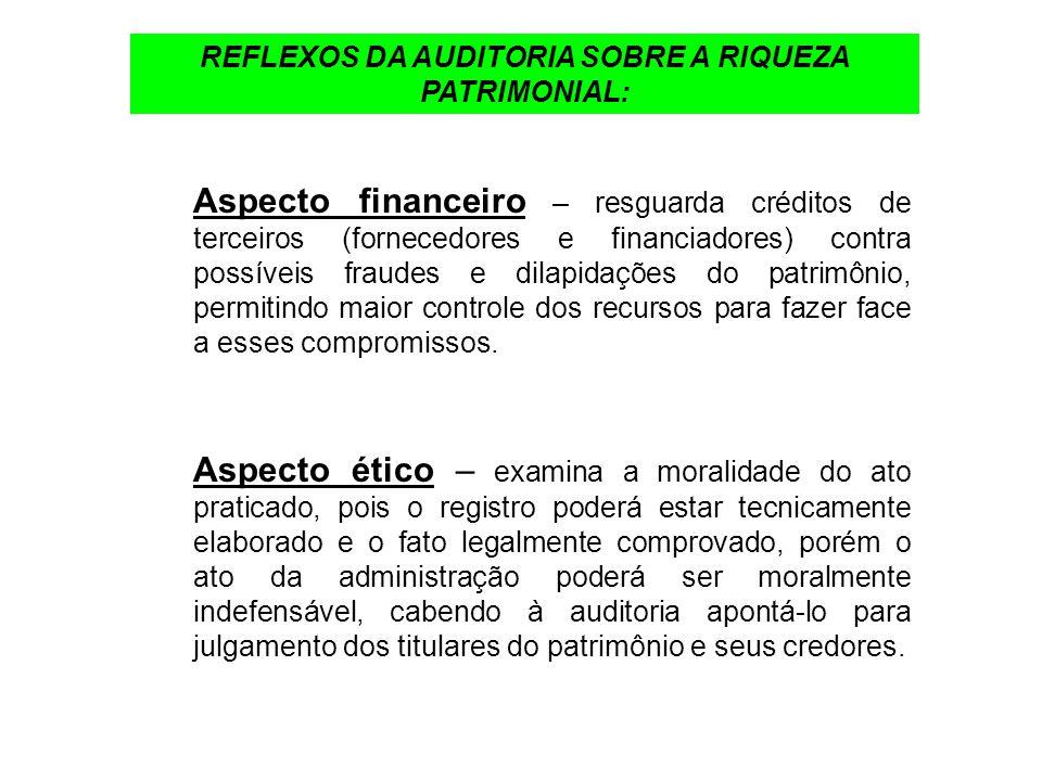 REFLEXOS DA AUDITORIA SOBRE A RIQUEZA PATRIMONIAL: Aspecto financeiro – resguarda créditos de terceiros (fornecedores e financiadores) contra possívei