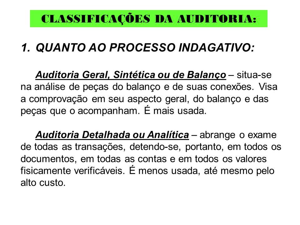 1.QUANTO AO PROCESSO INDAGATIVO: Auditoria Geral, Sintética ou de Balanço – situa-se na análise de peças do balanço e de suas conexões. Visa a comprov