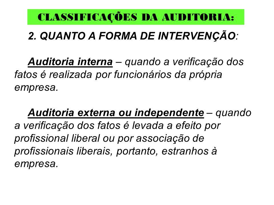 2. QUANTO A FORMA DE INTERVENÇÃO: Auditoria interna – quando a verificação dos fatos é realizada por funcionários da própria empresa. Auditoria extern