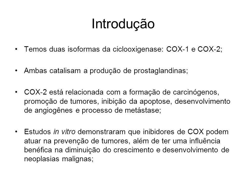 Introdução Temos duas isoformas da ciclooxigenase: COX-1 e COX-2; Ambas catalisam a produção de prostaglandinas; COX-2 está relacionada com a formação