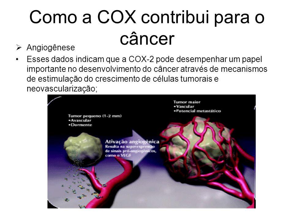 Como a COX contribui para o câncer  Angiogênese Esses dados indicam que a COX-2 pode desempenhar um papel importante no desenvolvimento do câncer atr