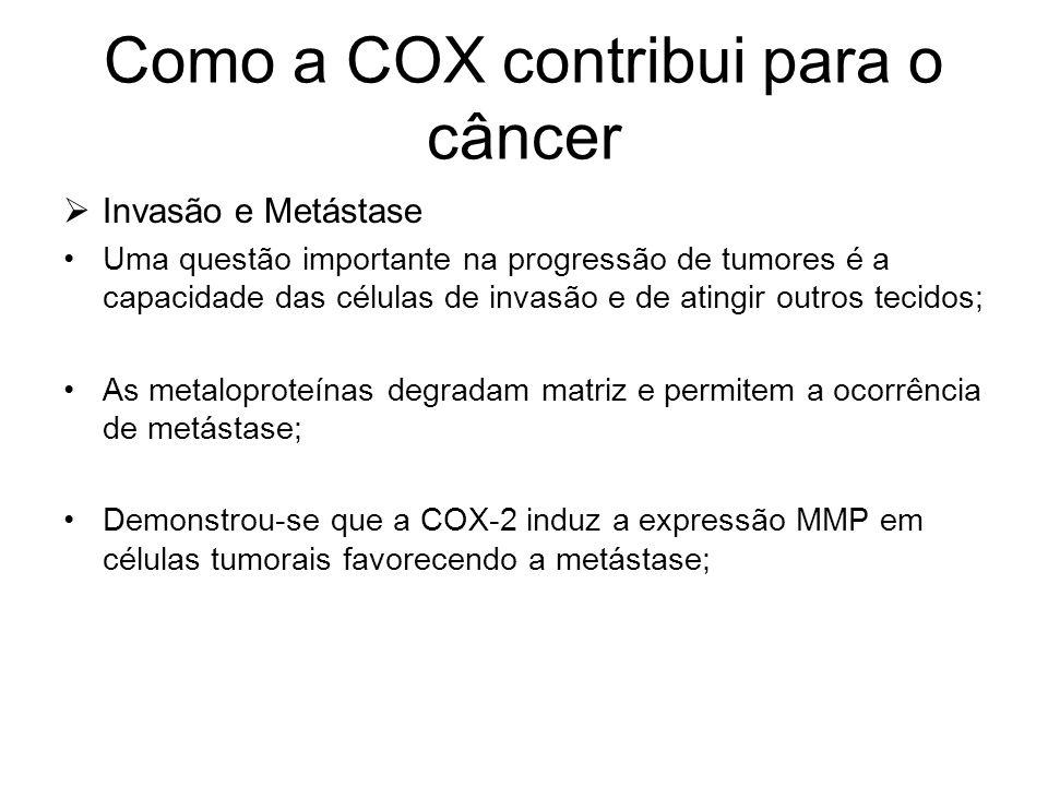 Como a COX contribui para o câncer  Invasão e Metástase Uma questão importante na progressão de tumores é a capacidade das células de invasão e de at