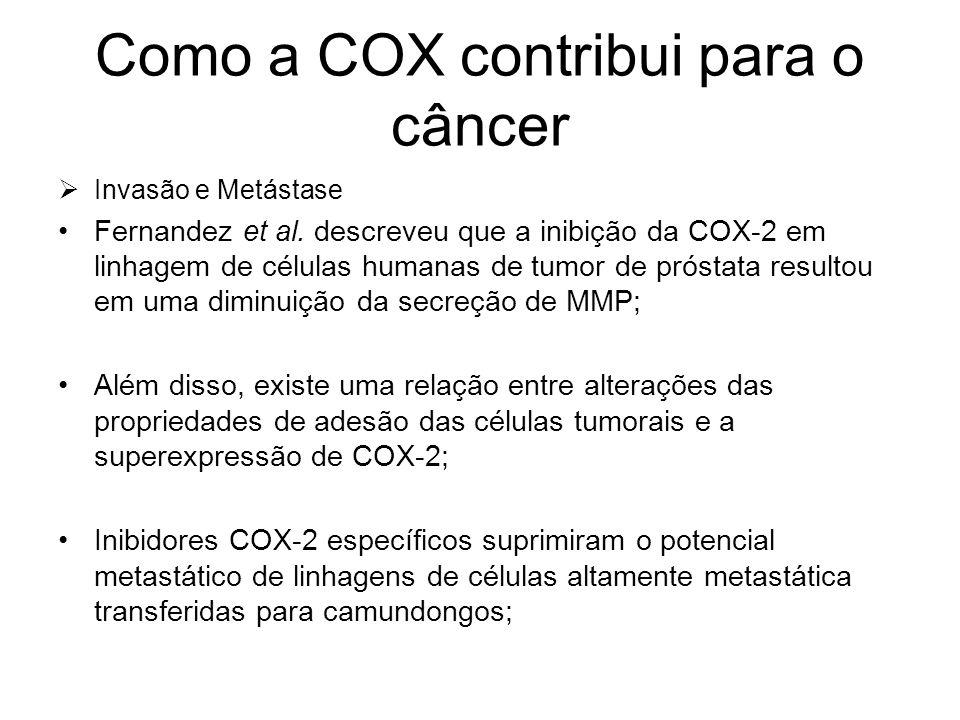 Como a COX contribui para o câncer  Invasão e Metástase Fernandez et al. descreveu que a inibição da COX-2 em linhagem de células humanas de tumor de