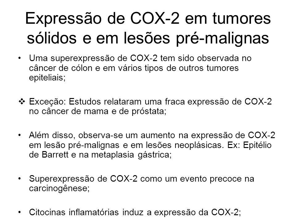 Expressão de COX-2 em tumores sólidos e em lesões pré-malignas Uma superexpressão de COX-2 tem sido observada no câncer de cólon e em vários tipos de