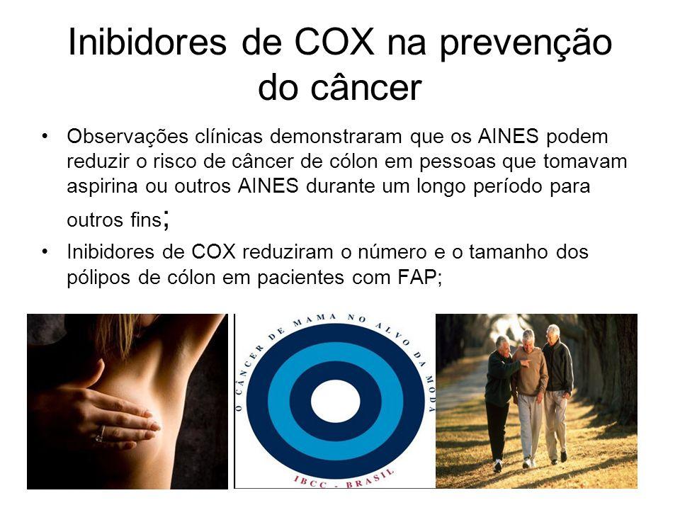 Inibidores de COX na prevenção do câncer Observações clínicas demonstraram que os AINES podem reduzir o risco de câncer de cólon em pessoas que tomava