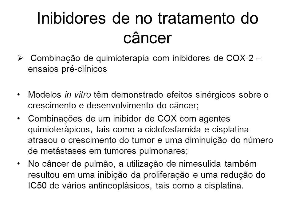 Inibidores de no tratamento do câncer  Combinação de quimioterapia com inibidores de COX-2 – ensaios pré-clínicos Modelos in vitro têm demonstrado ef