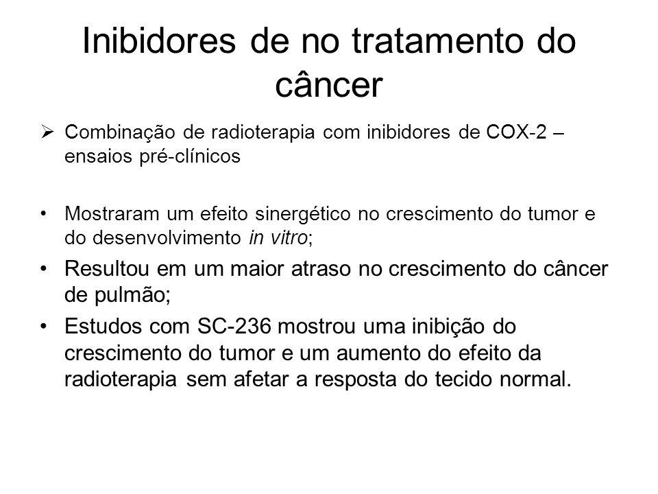 Inibidores de no tratamento do câncer  Combinação de radioterapia com inibidores de COX-2 – ensaios pré-clínicos Mostraram um efeito sinergético no c