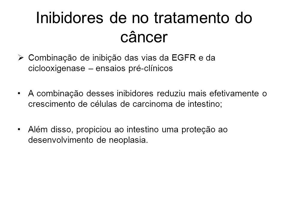 Inibidores de no tratamento do câncer  Combinação de inibição das vias da EGFR e da ciclooxigenase – ensaios pré-clínicos A combinação desses inibido
