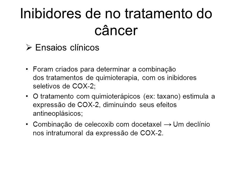 Inibidores de no tratamento do câncer  Ensaios clínicos Foram criados para determinar a combinação dos tratamentos de quimioterapia, com os inibidore