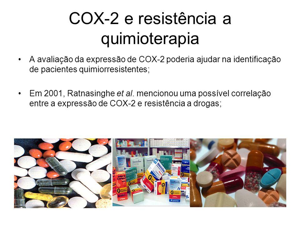 COX-2 e resistência a quimioterapia A avaliação da expressão de COX-2 poderia ajudar na identificação de pacientes quimiorresistentes; Em 2001, Ratnas