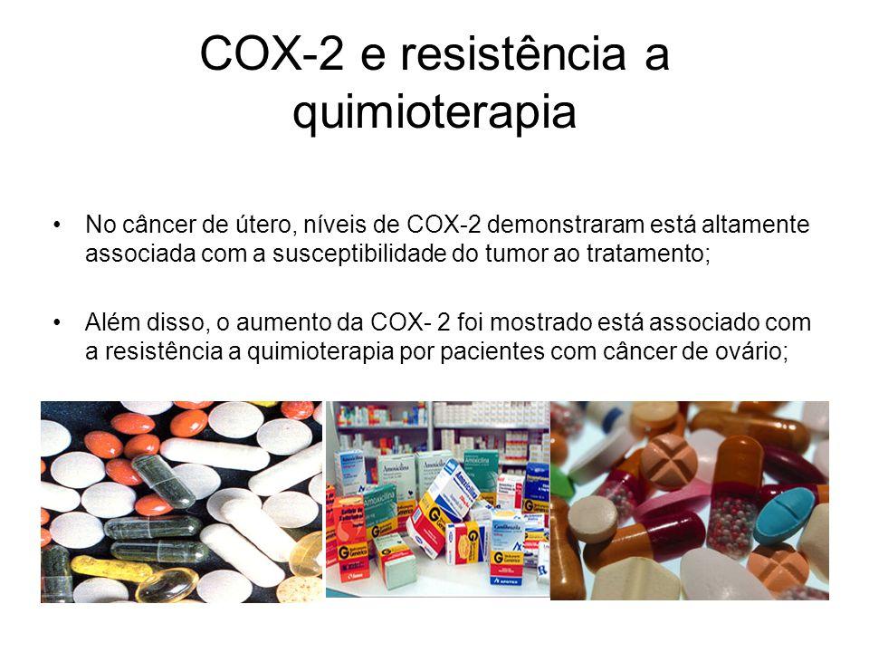 COX-2 e resistência a quimioterapia No câncer de útero, níveis de COX-2 demonstraram está altamente associada com a susceptibilidade do tumor ao trata