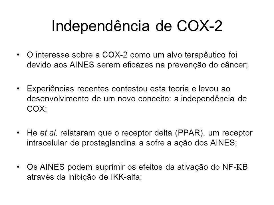 Independência de COX-2 O interesse sobre a COX-2 como um alvo terapêutico foi devido aos AINES serem eficazes na prevenção do câncer; Experiências rec