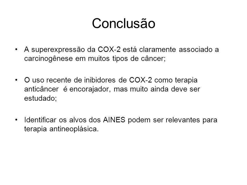Conclusão A superexpressão da COX-2 está claramente associado a carcinogênese em muitos tipos de câncer; O uso recente de inibidores de COX-2 como ter
