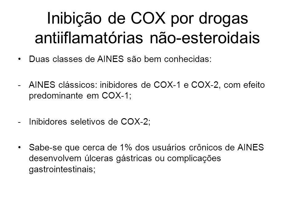 Inibição de COX por drogas antiiflamatórias não-esteroidais Duas classes de AINES são bem conhecidas: -AINES clássicos: inibidores de COX-1 e COX-2, c