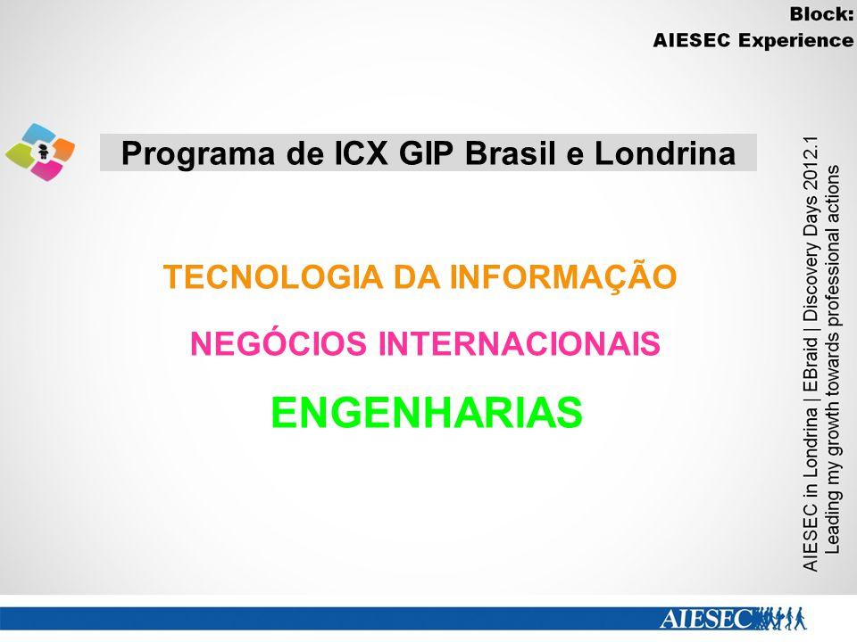 Programa de ICX GIP Brasil e Londrina NEGÓCIOS INTERNACIONAIS ENGENHARIAS TECNOLOGIA DA INFORMAÇÃO