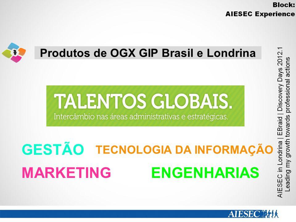 Produtos de OGX GIP Brasil e Londrina GESTÃO MARKETINGENGENHARIAS TECNOLOGIA DA INFORMAÇÃO