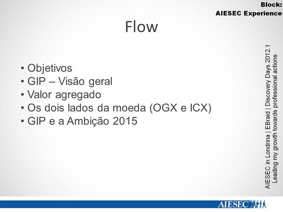 Flow Objetivos GIP – Visão geral Valor agregado Os dois lados da moeda (OGX e ICX) GIP e a Ambição 2015