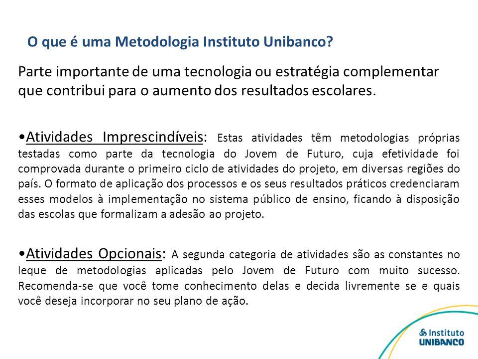O que é uma Metodologia Instituto Unibanco? Parte importante de uma tecnologia ou estratégia complementar que contribui para o aumento dos resultados