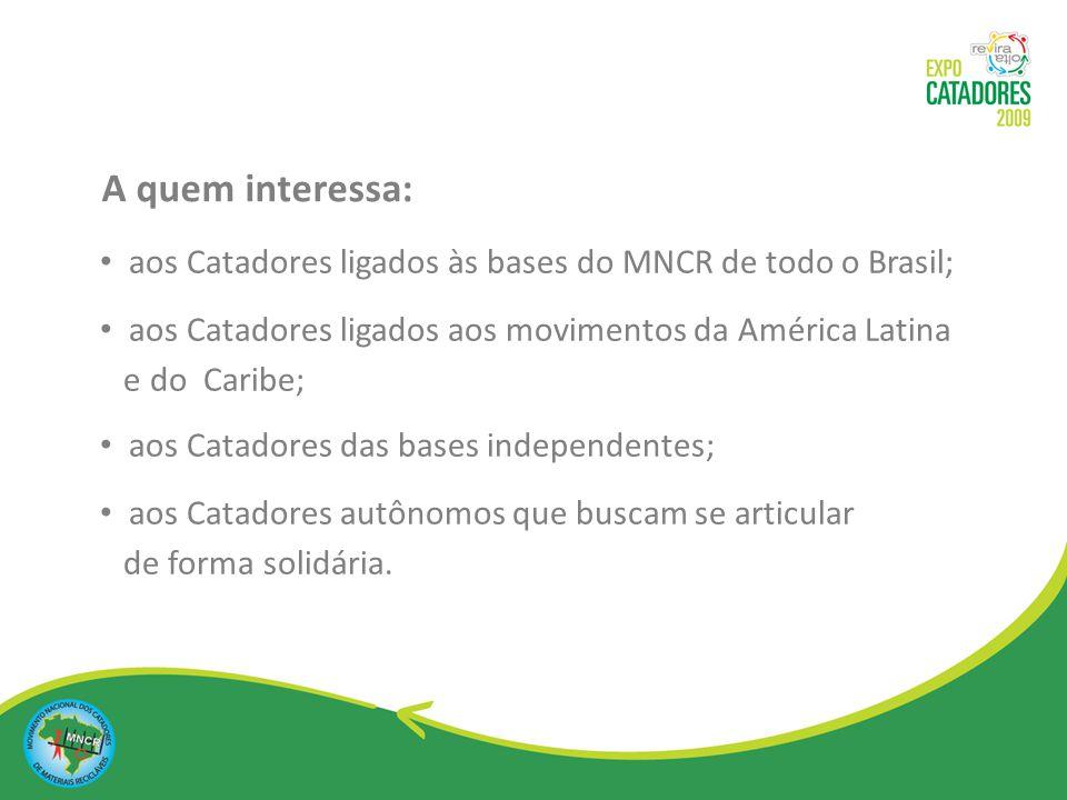 Possibilitar a troca de experiências entre organizações de catadores do Brasil, da América Latina e do Caribe; Fomentar ações da Rede Latino americana e Caribenha de Catadores; Ampliar o diálogo entre os diferentes setores da sociedade brasileira.