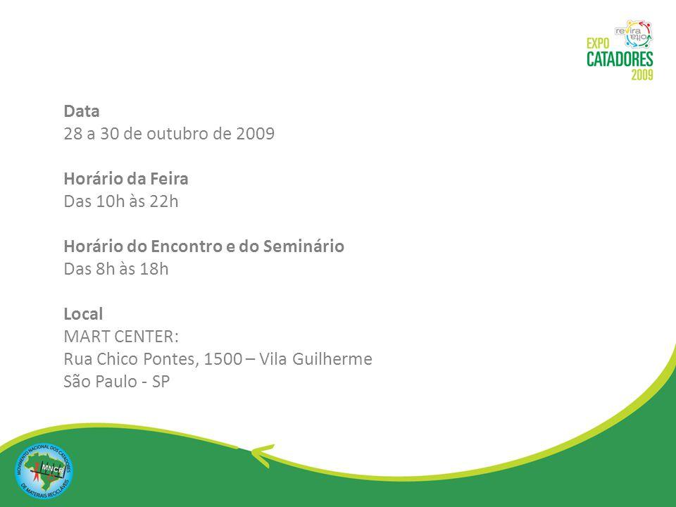 Periodicidade Anual Área de Exposição 3.400 m² Número de Expositores 40 (estimado) Participantes: Encontro: 1500 catadores Seminário: 300 vagas + Visitantes: 3000/dia Contatos para Informações (11) 3207.8190 contato@expocatadores.com.br www.expocatadores.com.br
