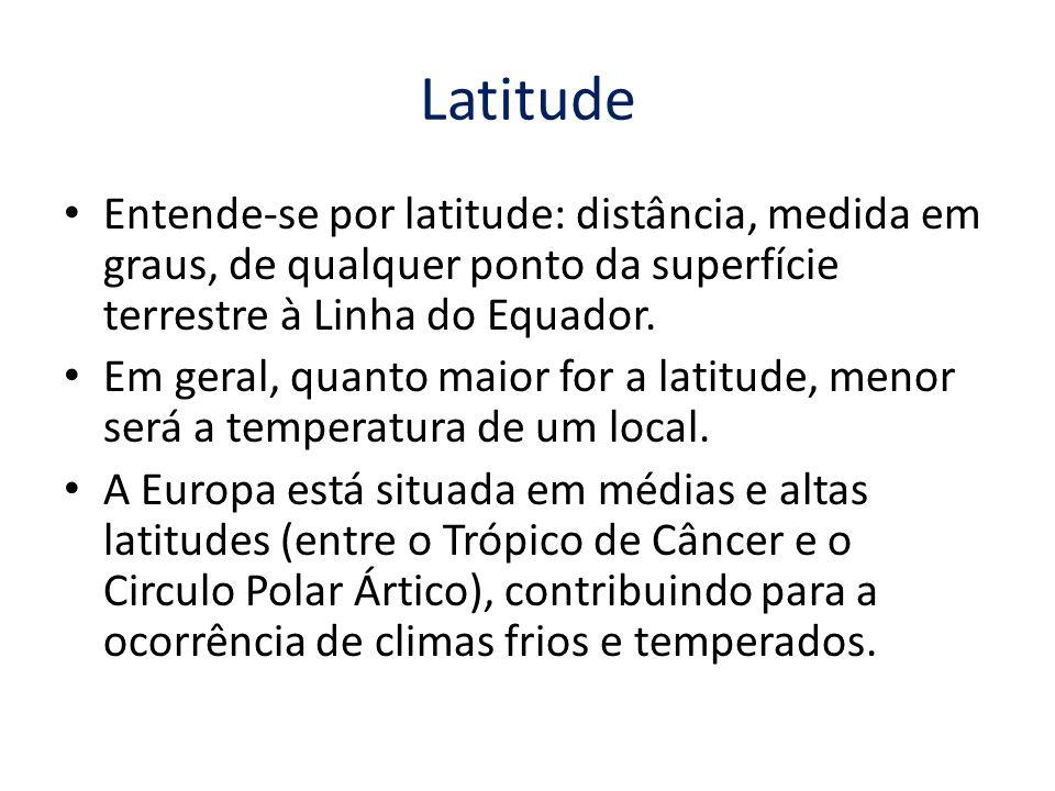 Latitude Entende-se por latitude: distância, medida em graus, de qualquer ponto da superfície terrestre à Linha do Equador.