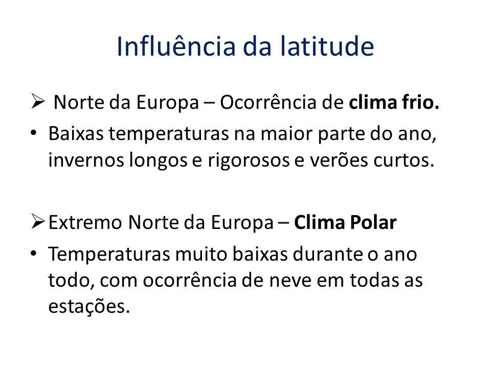 Influência da latitude  Norte da Europa – Ocorrência de clima frio.