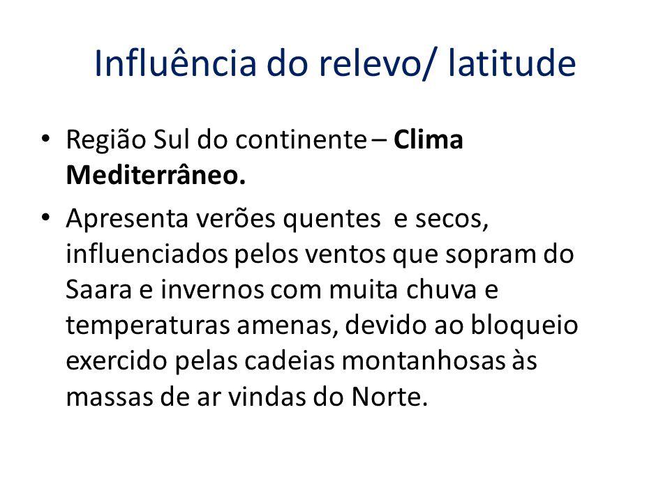 Influência do relevo/ latitude Região Sul do continente – Clima Mediterrâneo.