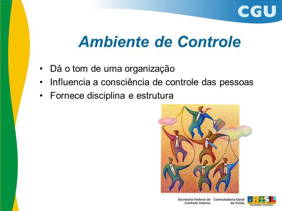 Ambiente de Controle Dá o tom de uma organização Influencia a consciência de controle das pessoas Fornece disciplina e estrutura