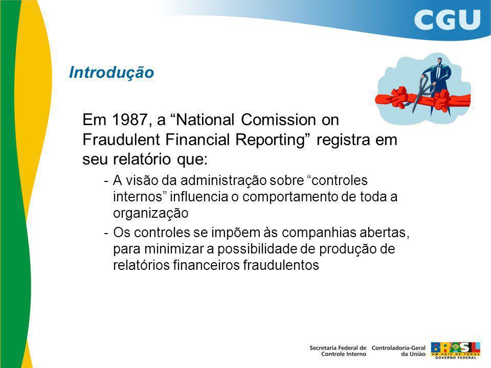 """Introdução Em 1987, a """"National Comission on Fraudulent Financial Reporting"""" registra em seu relatório que: -A visão da administração sobre """"controles"""