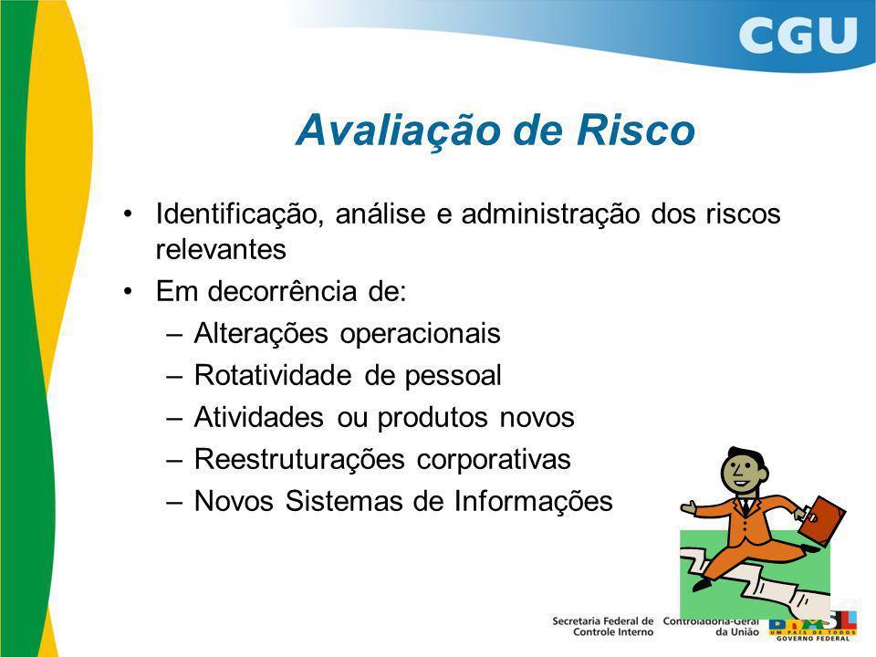 Avaliação de Risco Identificação, análise e administração dos riscos relevantes Em decorrência de: –Alterações operacionais –Rotatividade de pessoal –