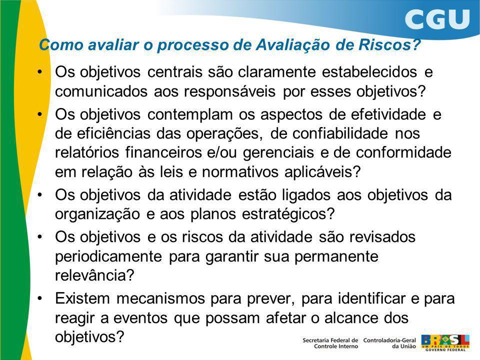 Como avaliar o processo de Avaliação de Riscos? Os objetivos centrais são claramente estabelecidos e comunicados aos responsáveis por esses objetivos?