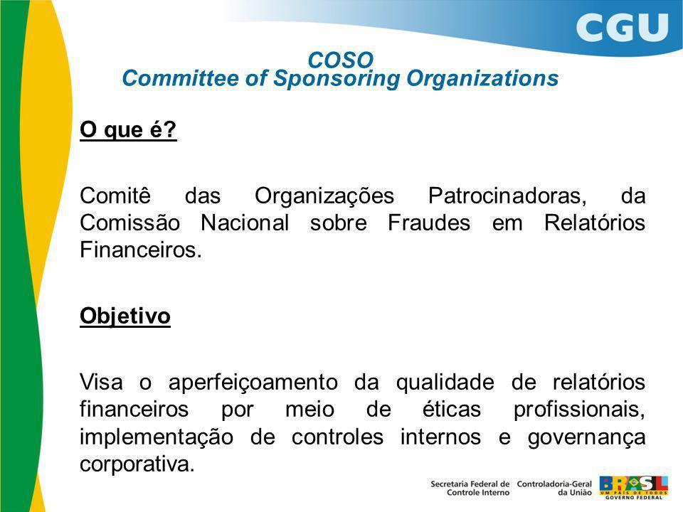 O que é? Comitê das Organizações Patrocinadoras, da Comissão Nacional sobre Fraudes em Relatórios Financeiros. Objetivo Visa o aperfeiçoamento da qual