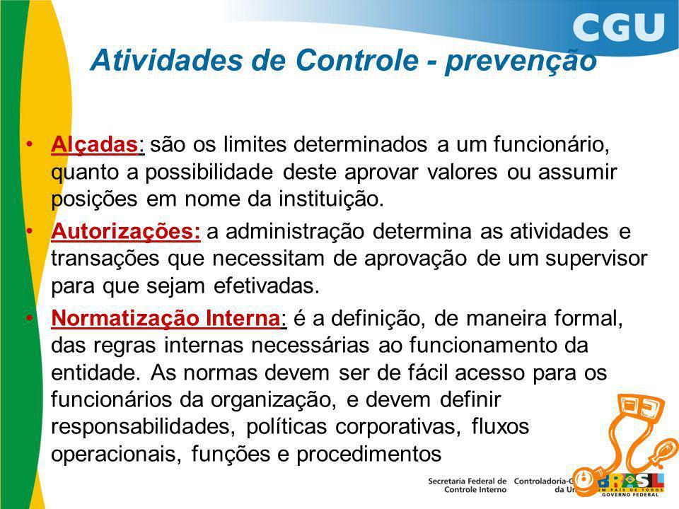 Atividades de Controle - prevenção Alçadas: são os limites determinados a um funcionário, quanto a possibilidade deste aprovar valores ou assumir posi