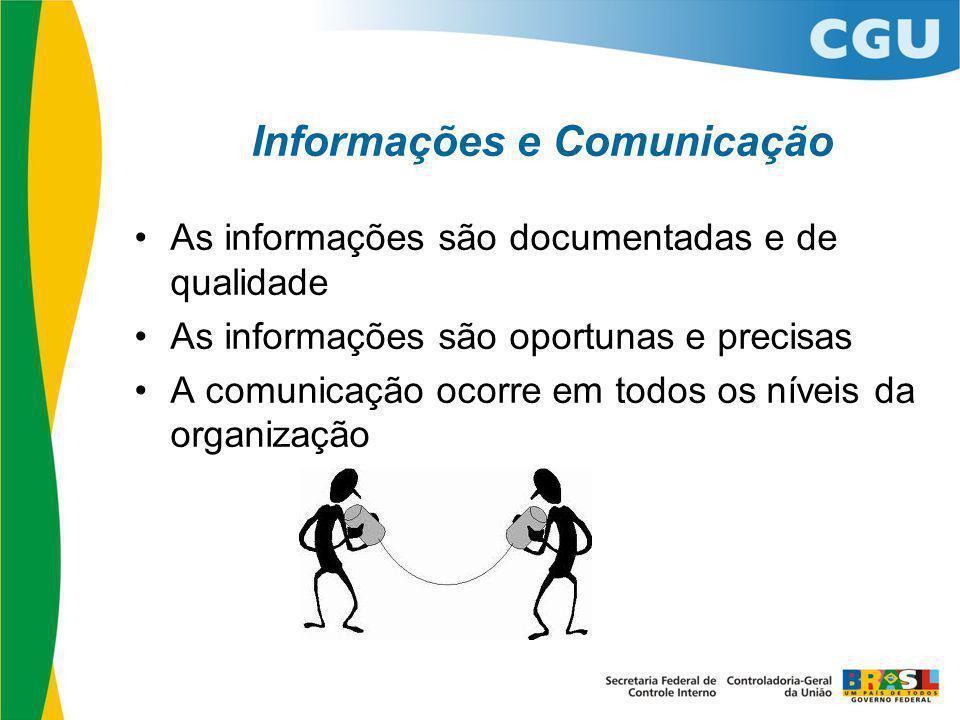 Informações e Comunicação As informações são documentadas e de qualidade As informações são oportunas e precisas A comunicação ocorre em todos os níve