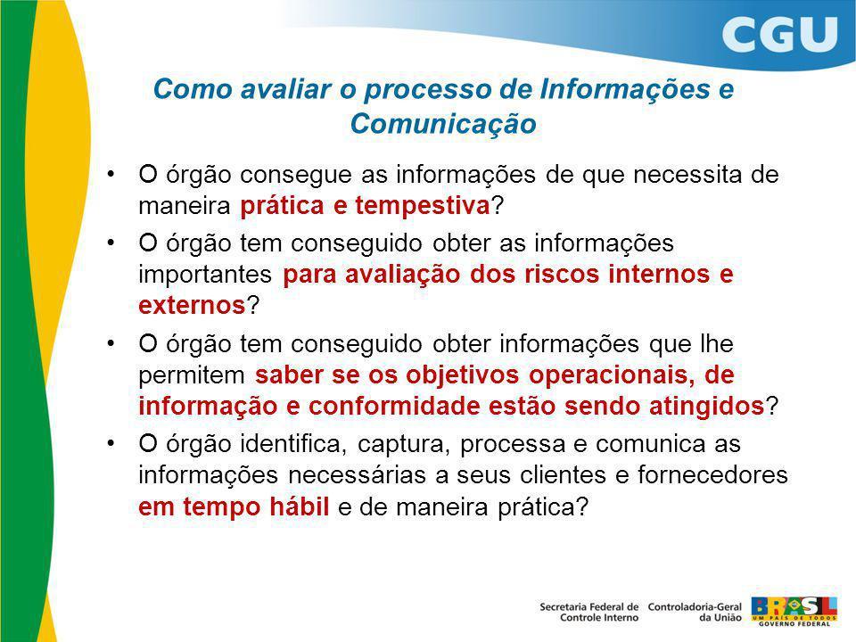 Como avaliar o processo de Informações e Comunicação O órgão consegue as informações de que necessita de maneira prática e tempestiva? O órgão tem con