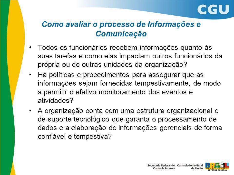 Como avaliar o processo de Informações e Comunicação Todos os funcionários recebem informações quanto às suas tarefas e como elas impactam outros func