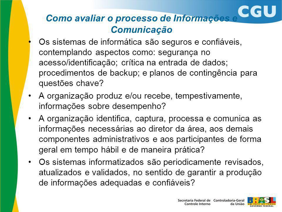 Como avaliar o processo de Informações e Comunicação Os sistemas de informática são seguros e confiáveis, contemplando aspectos como: segurança no ace