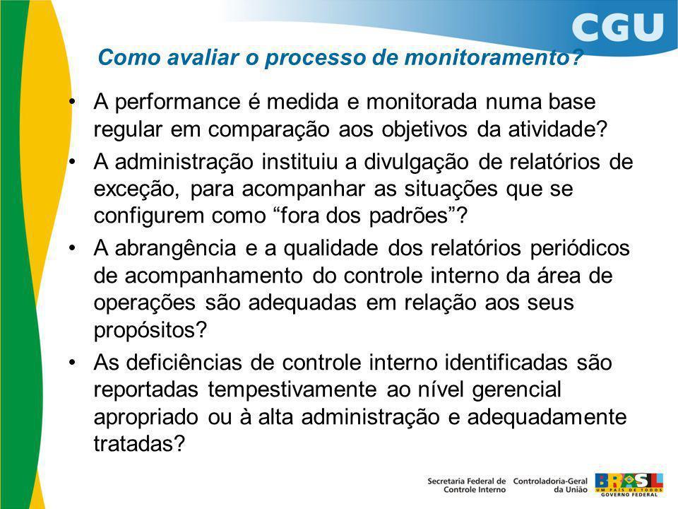Como avaliar o processo de monitoramento? A performance é medida e monitorada numa base regular em comparação aos objetivos da atividade? A administra