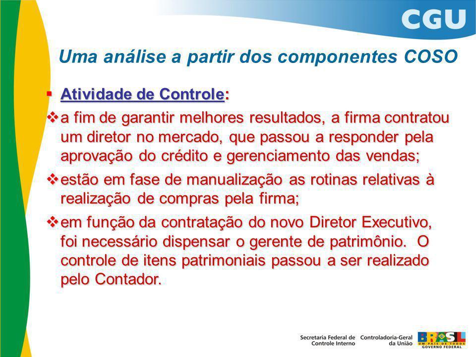  Atividade de Controle:  a fim de garantir melhores resultados, a firma contratou um diretor no mercado, que passou a responder pela aprovação do cr
