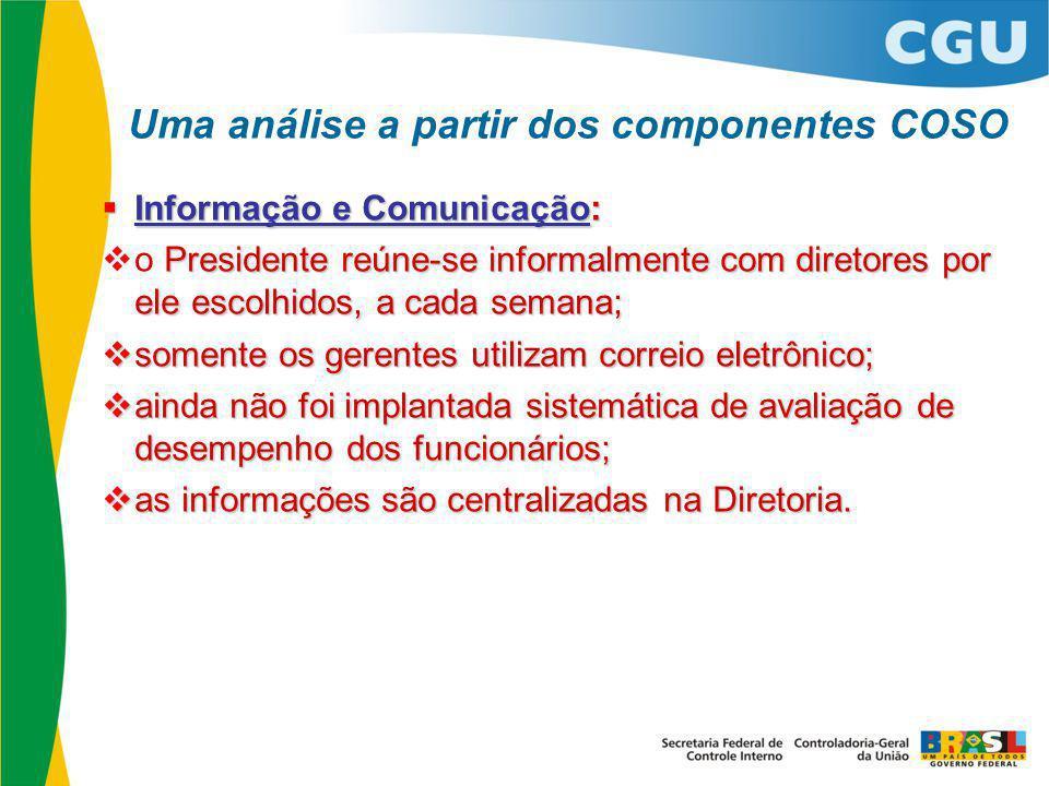  Informação e Comunicação: Presidente reúne-se informalmente com diretores por ele escolhidos, a cada semana;  o Presidente reúne-se informalmente c