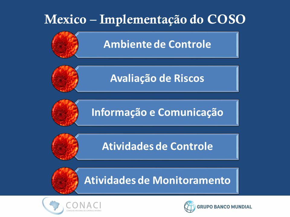 Ambiente de Controle Avaliação de Riscos Informação e Comunicação Atividades de Controle Atividades de Monitoramento Mexico – Implementação do COSO