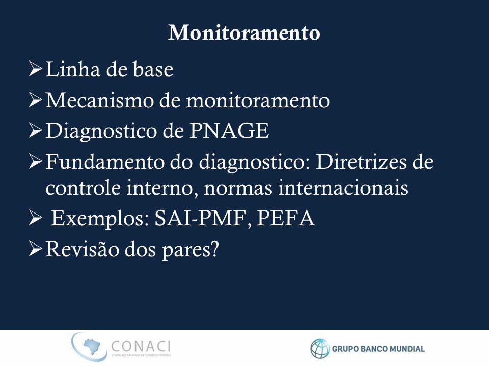  Linha de base  Mecanismo de monitoramento  Diagnostico de PNAGE  Fundamento do diagnostico: Diretrizes de controle interno, normas internacionais  Exemplos: SAI-PMF, PEFA  Revisão dos pares.