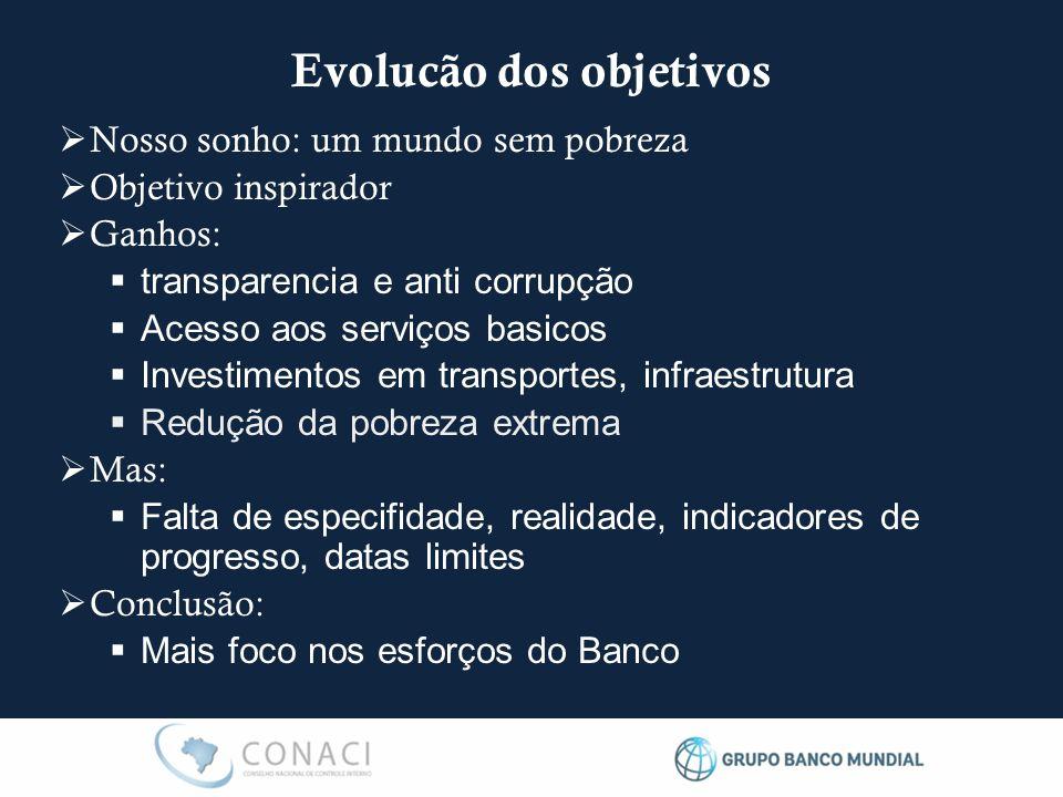  Nosso sonho: um mundo sem pobreza  Objetivo inspirador  Ganhos:  transparencia e anti corrupção  Acesso aos serviços basicos  Investimentos em