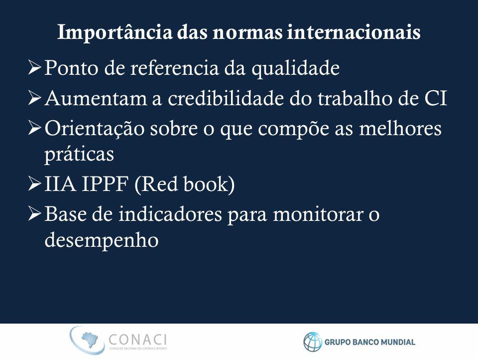  Ponto de referencia da qualidade  Aumentam a credibilidade do trabalho de CI  Orientação sobre o que compõe as melhores práticas  IIA IPPF (Red book)  Base de indicadores para monitorar o desempenho Importância das normas internacionais