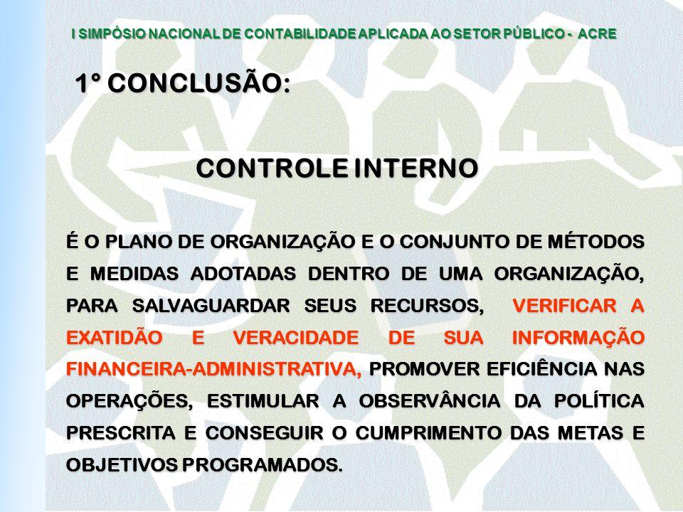 I SIMPÓSIO NACIONAL DE CONTABILIDADE APLICADA AO SETOR PÚBLICO - ACRE CONTROLE INTERNO É O PLANO DE ORGANIZAÇÃO E O CONJUNTO DE MÉTODOS E MEDIDAS ADOTADAS DENTRO DE UMA ORGANIZAÇÃO, PARA SALVAGUARDAR SEUS RECURSOS, VERIFICAR A EXATIDÃO E VERACIDADE DE SUA INFORMAÇÃO FINANCEIRA-ADMINISTRATIVA, PROMOVER EFICIÊNCIA NAS OPERAÇÕES, ESTIMULAR A OBSERVÂNCIA DA POLÍTICA PRESCRITA E CONSEGUIR O CUMPRIMENTO DAS METAS E OBJETIVOS PROGRAMADOS.