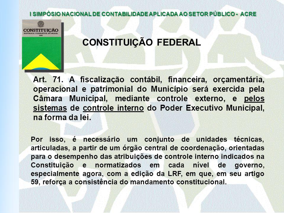 I SIMPÓSIO NACIONAL DE CONTABILIDADE APLICADA AO SETOR PÚBLICO - ACRE Art.