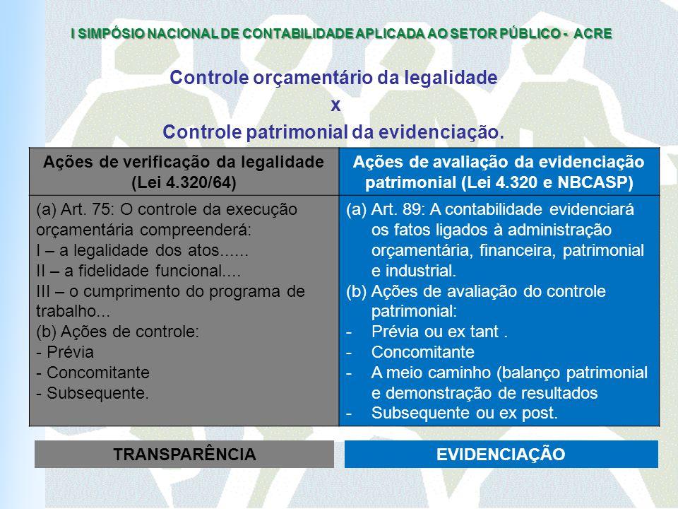 I SIMPÓSIO NACIONAL DE CONTABILIDADE APLICADA AO SETOR PÚBLICO - ACRE Controle orçamentário da legalidade x Controle patrimonial da evidenciação.